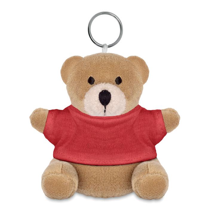 8253-Μπρελόκ με αρκουδάκι που φοράει βαμβακερό μπλουζάκι για λογοτύπηση