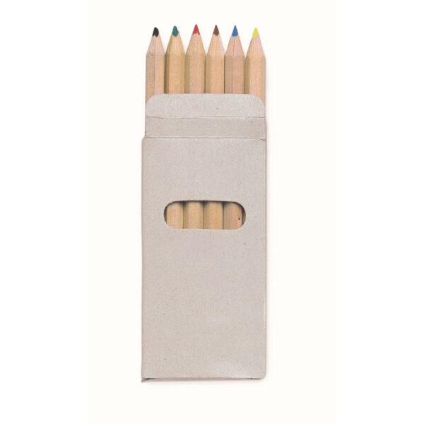 6 mini ξυλομπογιές σε kraft κουτί – 8585
