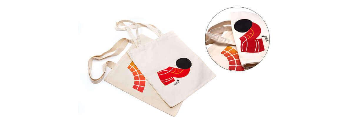 Τσάντα βαμαβακερή με μακρυά χερούλια στο φυσικό ακατέργαστο εκρού χρώμα