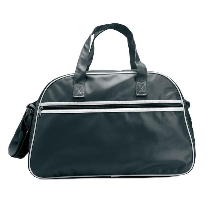 7868 - Αθλητική τσάντα «bowling» από ματ PVC, με άσπρες διακοσμητικές λωρίδες, μπροστινή τσέπη με φερμουάρ και ρυθμιζόμενο ιμάντα ώμου