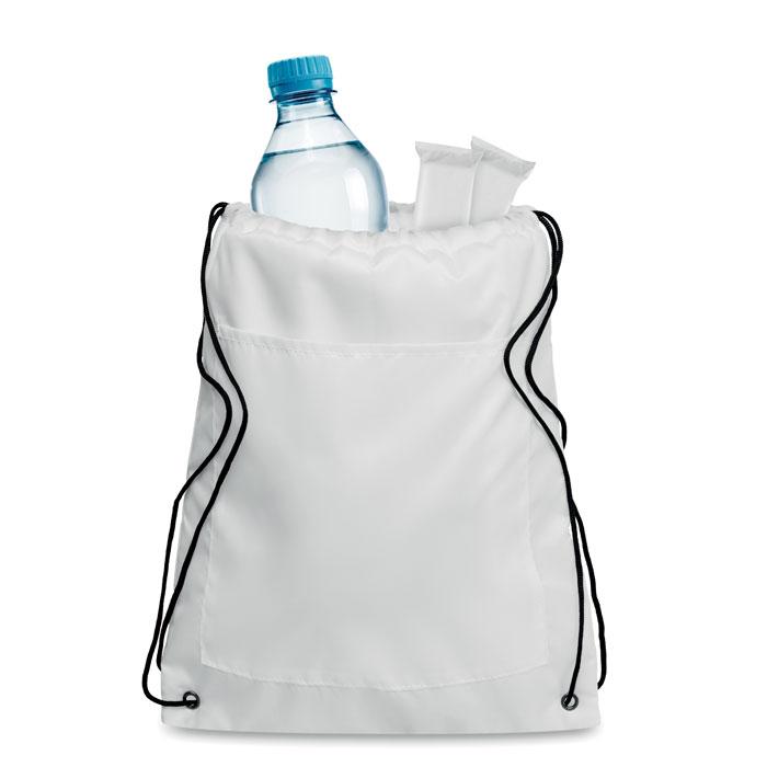Cooler bag με εξωτερική τσέπη και μαύρα κορδόνια