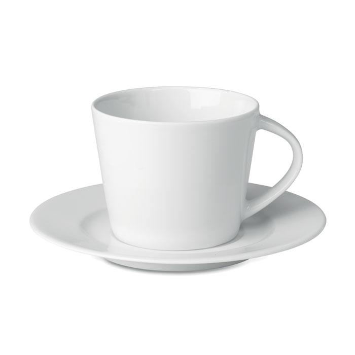 Κούπα πορσελάνης 180ml με ασορτί λευκό πιατάκι