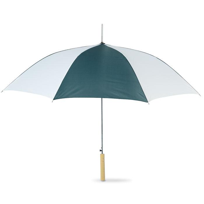 Ομπρέλα δίχρωμη με μεταλλικό άξονα και ξύλινο χερούλι