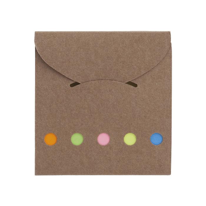 3191 - Οικολογικός φάκελος με sticky notes σε καφέ χρώμα