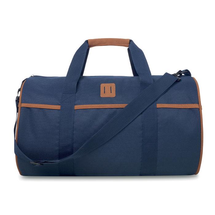 Τσάντα duffle από πολυεστέρα με μπροστινή θήκη, λεπτομέρειες από δέρμα και ρυθμιζόμενο ιμάντα ώμου