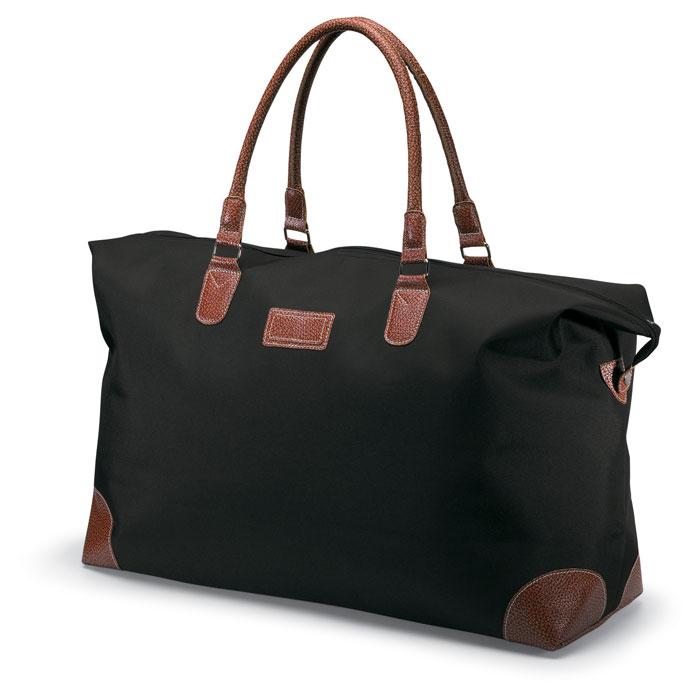 Τσάντα ταξιδίου microfiber με καφέ λεπτομέρειες από PVC και κλείσιμο με φερμουάρ