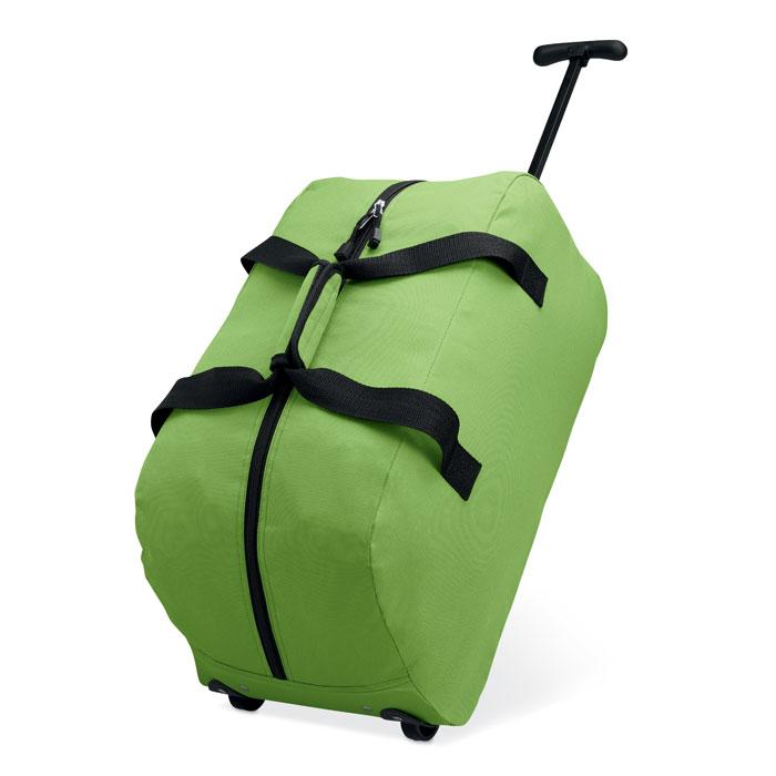 Τσάντα ταξιδίου πολυεστερική με ροδάκια, χερούλια και κλείσιμο με φερμουάρ