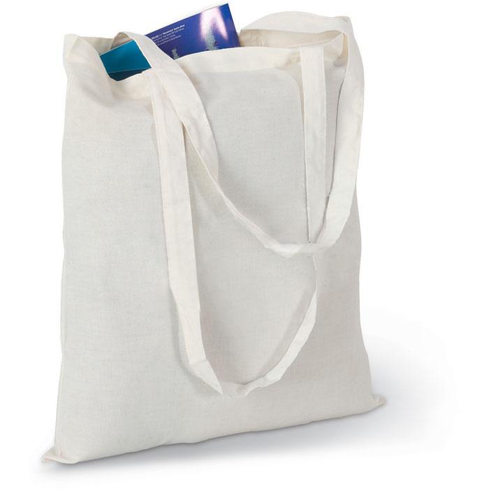 Βαμβακερή τσάντα για ψώνια στο ακατέργαστο εκρού χρώμα με μακριά χερούλια