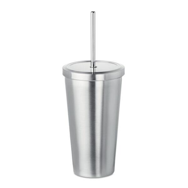 Μεταλλικό ποτήρι με καλαμάκι – 9528