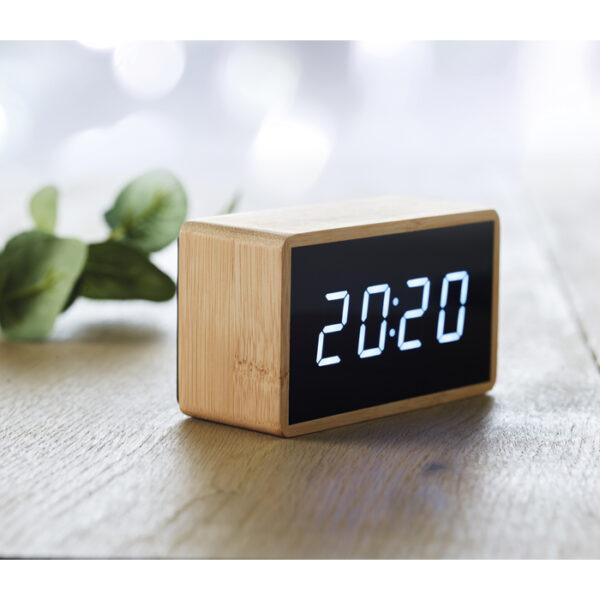 Επιτραπέζιο ορθογώνιο ρολόι απο bamboo – 9921