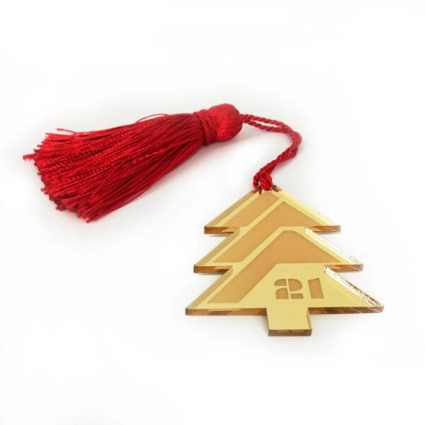 """Χριστουγεννιάτικο """"δέντρο"""" γούρι απο plexiglass με φούντα – 020"""