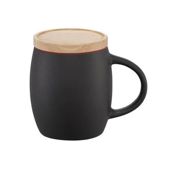 Κούπα ματ κεραμική με ξύλινο καπάκι – 10466