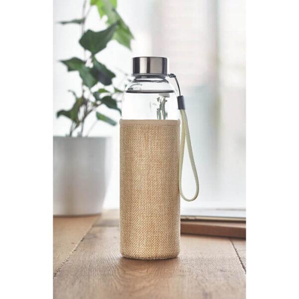Γυάλινο μπουκάλι σε θήκη από jute – 6168