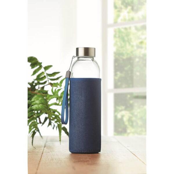 Γυάλινο μπουκάλι σε denim θήκη – 6192