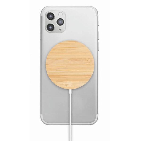 Μαγνητικός ασύρματος φορτιστής απο bamboo – 6266