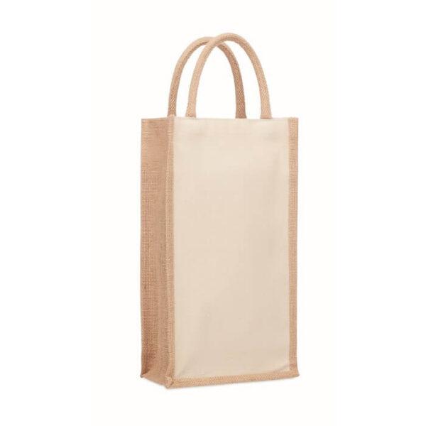 Τσάντα για δυο φιάλες κρασιού με jute – 6259